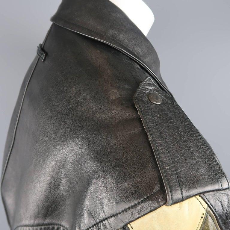 JEAN PAUL GAULTIER 42 Black & Beige Leather Harlequin Sleeve Biker Jacket For Sale 3