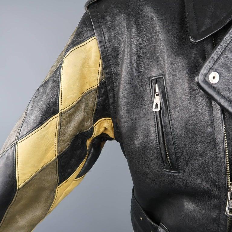 Women's or Men's JEAN PAUL GAULTIER 42 Black & Beige Leather Harlequin Sleeve Biker Jacket For Sale