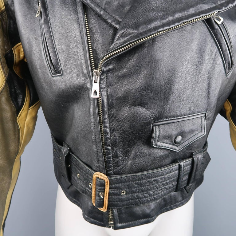 JEAN PAUL GAULTIER 42 Black & Beige Leather Harlequin Sleeve Biker Jacket In Fair Condition For Sale In San Francisco, CA