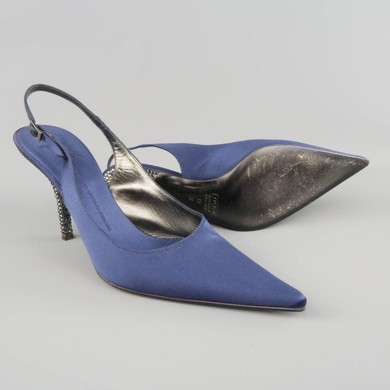 Purple Giuseppe Zannotti Size 10 Navy Silk Rhinestone Heel Pointed Slingback Pumps For Sale