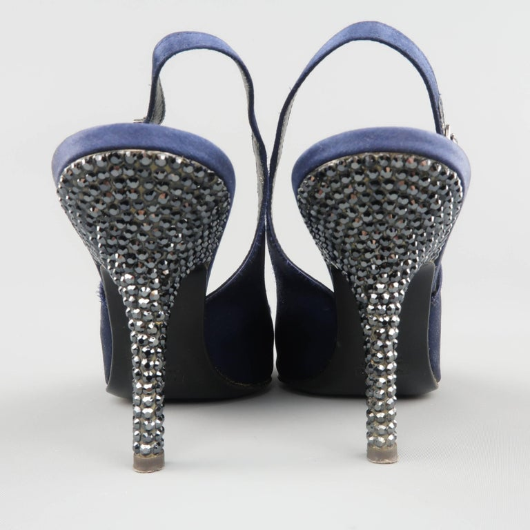 Giuseppe Zannotti Size 10 Navy Silk Rhinestone Heel Pointed Slingback Pumps For Sale 1