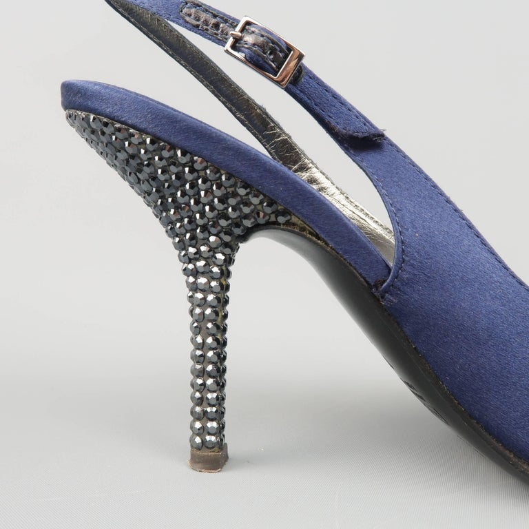 Women's Giuseppe Zannotti Size 10 Navy Silk Rhinestone Heel Pointed Slingback Pumps For Sale