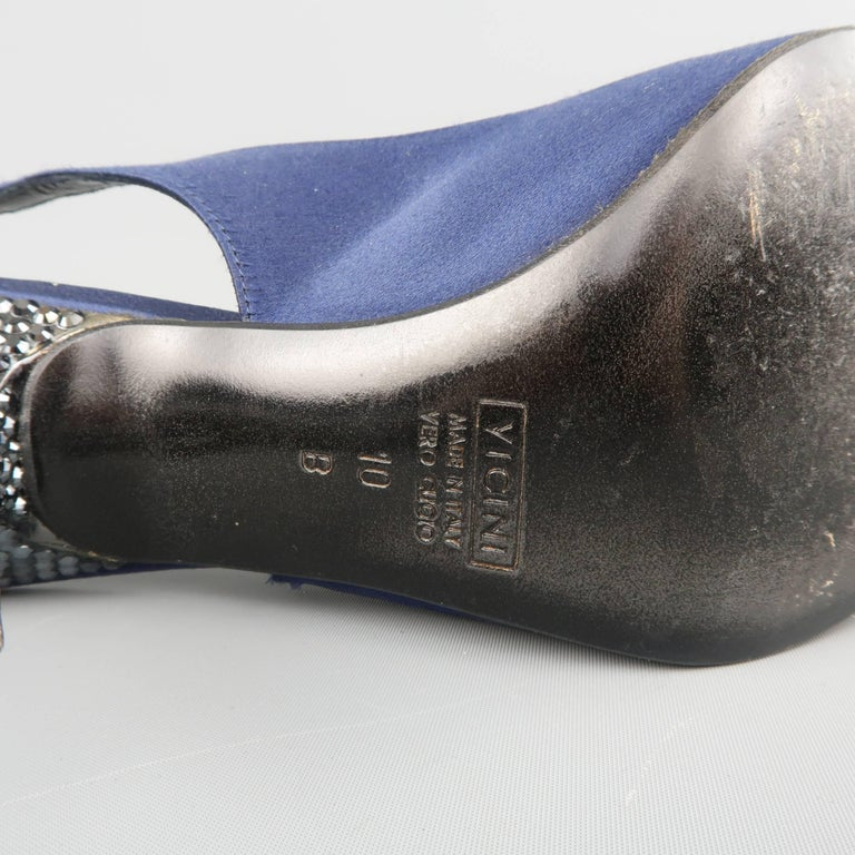 Giuseppe Zannotti Size 10 Navy Silk Rhinestone Heel Pointed Slingback Pumps For Sale 3