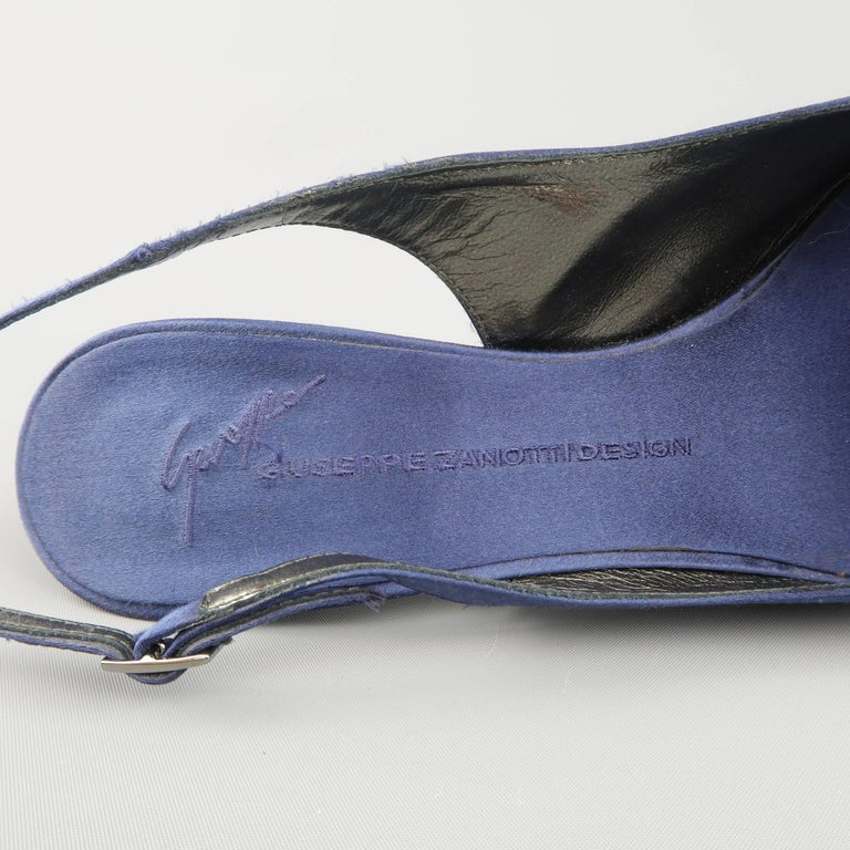Giuseppe Zannotti Size 10 Navy Silk Rhinestone Heel Pointed Slingback Pumps For Sale 2