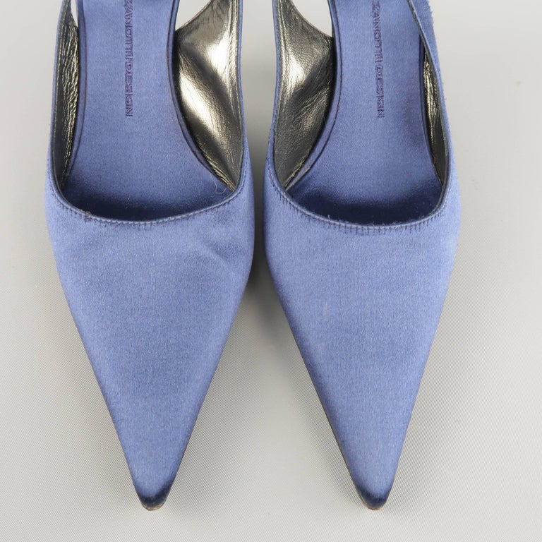 Giuseppe Zannotti Size 10 Navy Silk Rhinestone Heel Pointed Slingback Pumps In Good Condition For Sale In San Francisco, CA