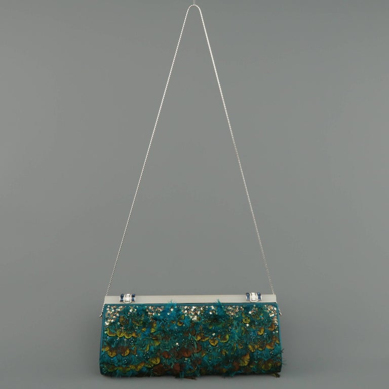 Women's Judith Leiber Teal Peacock Feather and Sequin Silk Crystal Handle Clutch For Sale