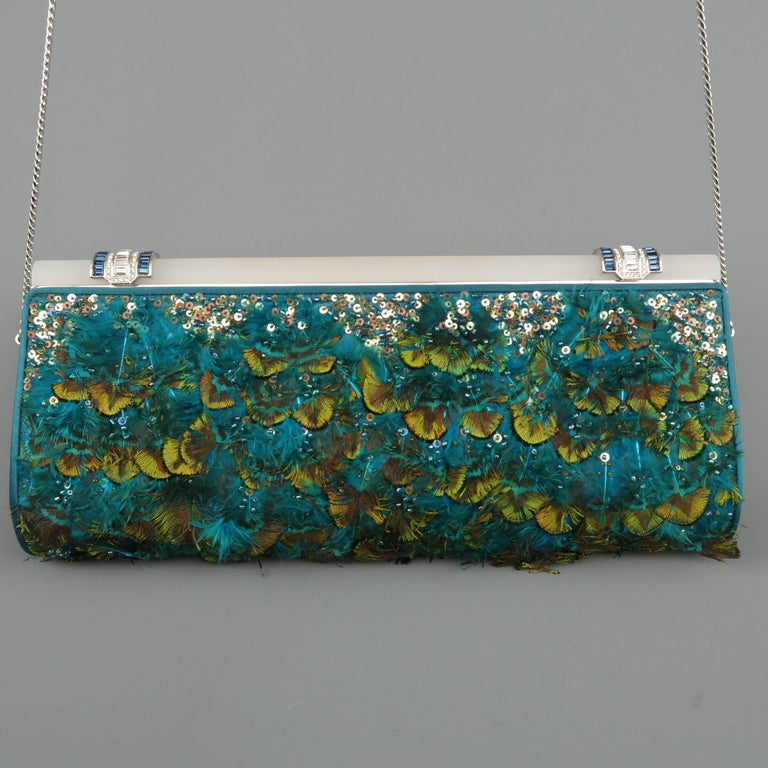 Judith Leiber Teal Peacock Feather and Sequin Silk Crystal Handle Clutch For Sale 2