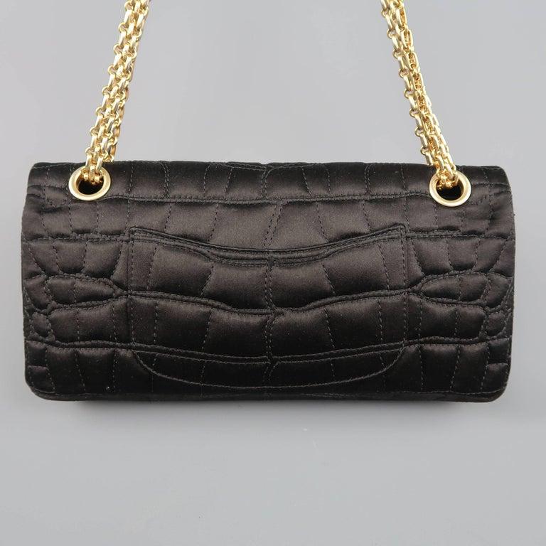 Women S Chanel Handbag Black Alligator Quilted Silk Gold Chain Reissue Shoulder Bag For