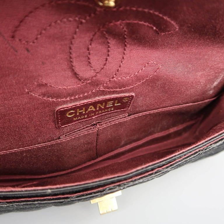 5b32549b287d87 Chanel Handbag - Black Alligator Quilted Silk Gold Chain Reissue Shoulder  Bag For Sale 5