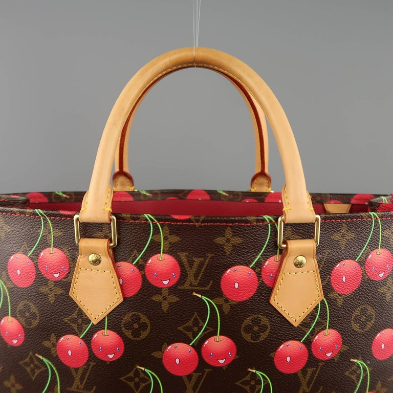 Louis Vuitton Takashi Murakami Brown Cherry Cerises Sac Plat Tote Bag In  Excellent Condition For Sale fadb552062c16