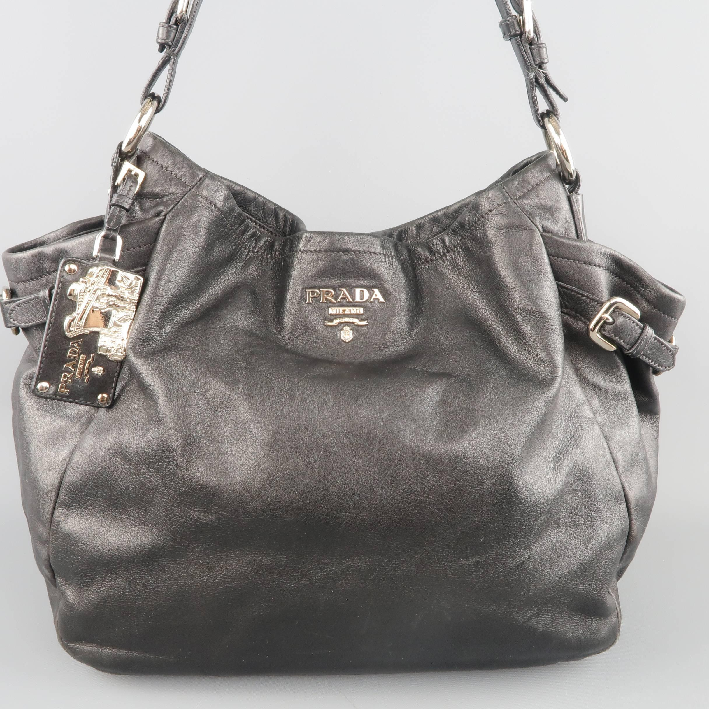 c9b67f49d8b1 ... clearance classic prada hobo shoulder bag comes in soft black leather  and features a silver tone