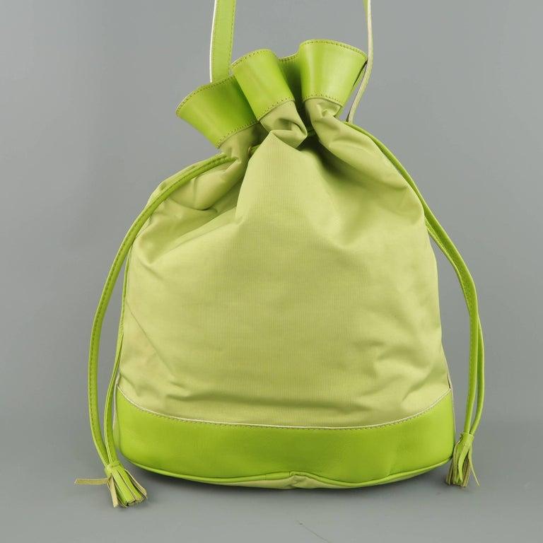 9540df5a289 Vintage 1990s MOSCHINO Green Canvas Drawstring Bucket Handbag For Sale 3