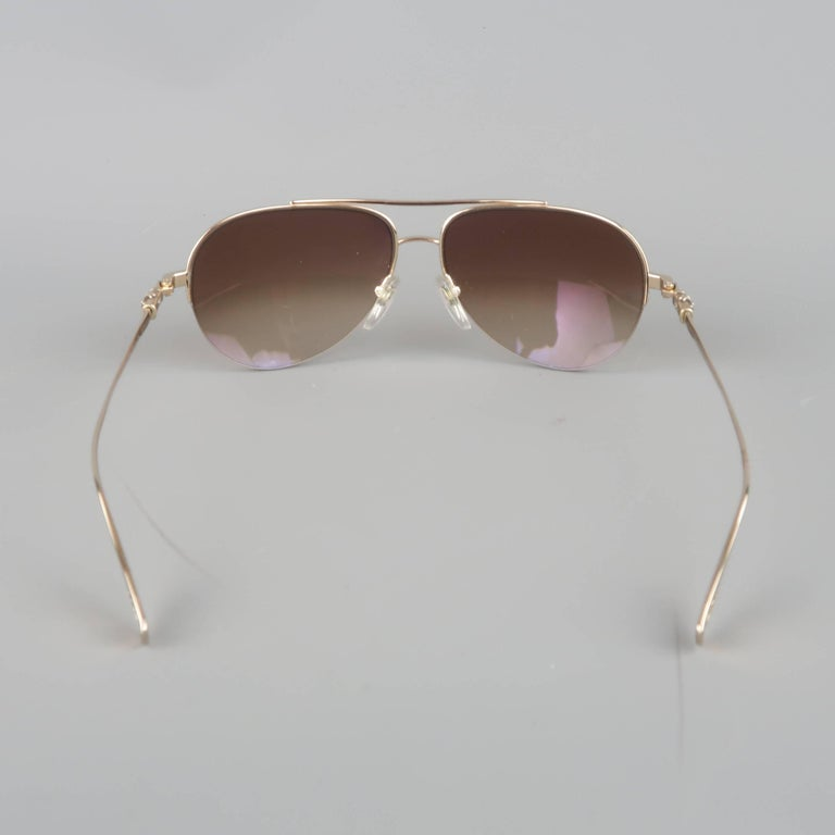 f2d586635b2c7 CHROME HEARTS Gold Tone Metal Brown Lens STAINS Aviator Sunglasses For Sale  1