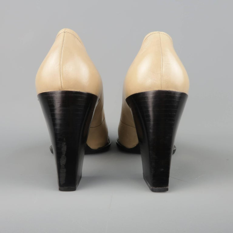 PRADA Size 10 Beige & Black Leather Cap Toe Pointed Toe Pumps For Sale 1