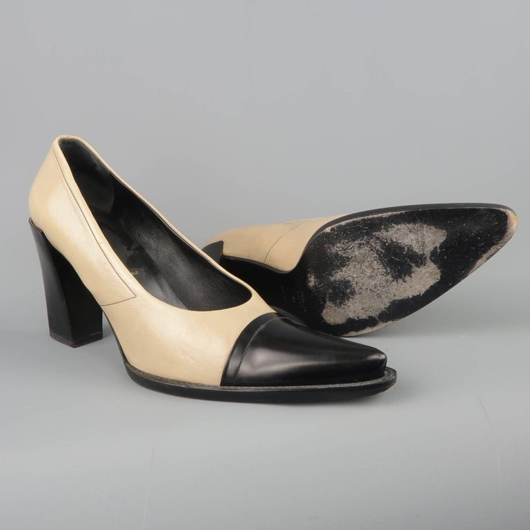 PRADA Size 10 Beige & Black Leather Cap Toe Pointed Toe Pumps In Good Condition For Sale In San Francisco, CA