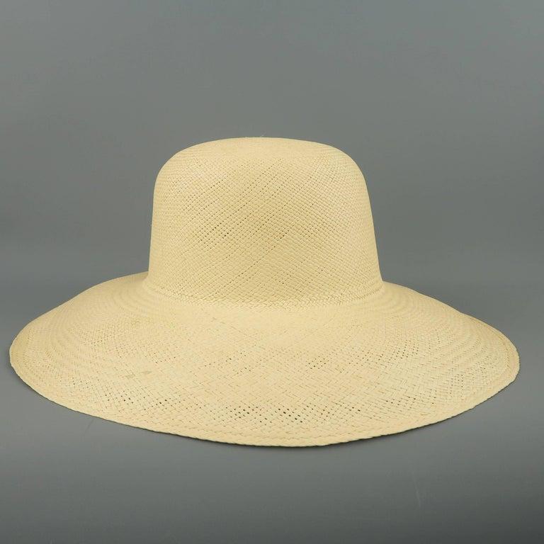 Vintage Beige Straw Wide Brim Sun Hat  In Good Condition In San Francisco, CA