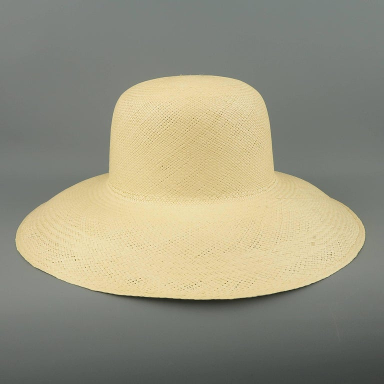 Women's or Men's Vintage Beige Straw Wide Brim Sun Hat