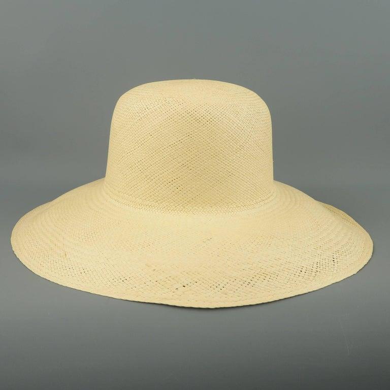 Vintage Beige Straw Wide Brim Sun Hat  1