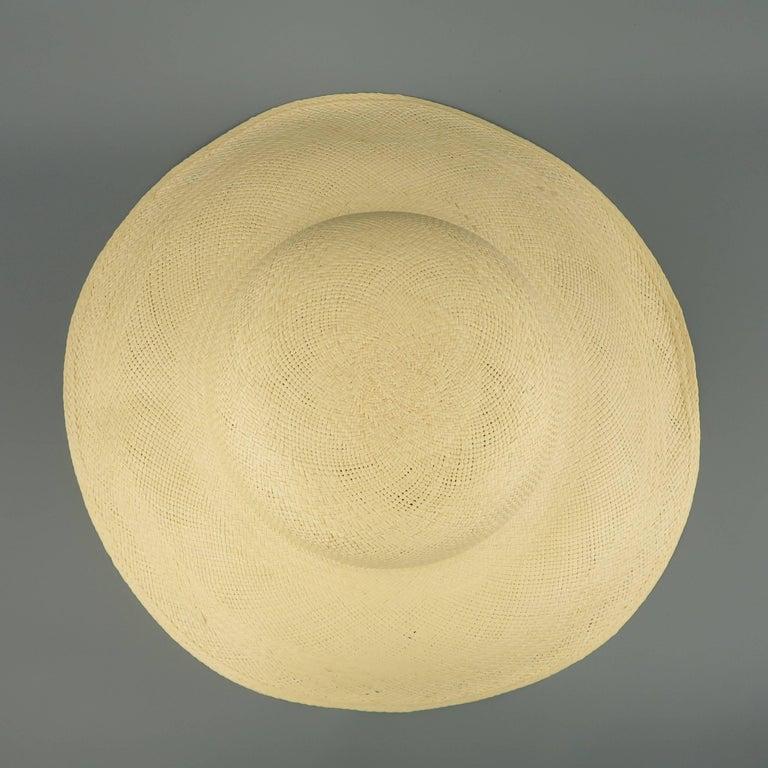 Vintage Beige Straw Wide Brim Sun Hat  2