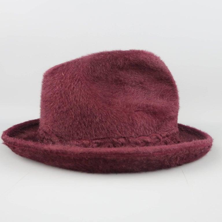 7a0e451e4686c Brown Vintage BILTMORE Size 7 Burgundy Beaver Fur Fedora Hat For Sale