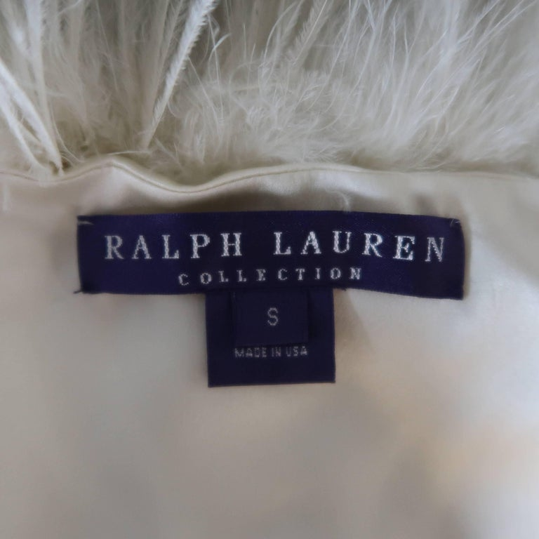 RALPH LAUREN Collection Cream Silk Lined Ostrich Feather Capelet For Sale 3