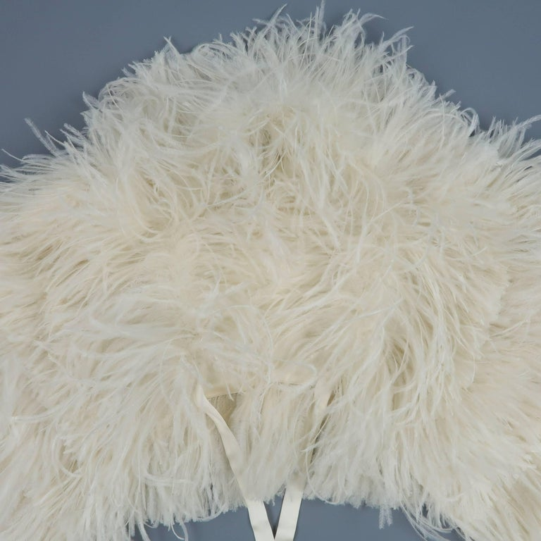 Beige RALPH LAUREN Collection Cream Silk Lined Ostrich Feather Capelet For Sale