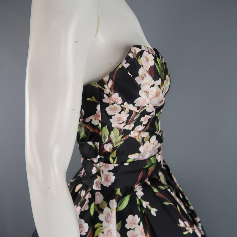 Dolce & Gabbana Dress -  Black Cherry Blossom Cocktail Dress Gown For Sale 1