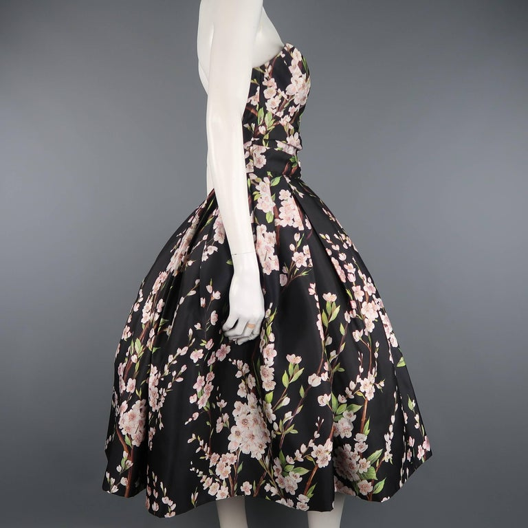 Dolce & Gabbana Dress -  Black Cherry Blossom Cocktail Dress Gown For Sale 2