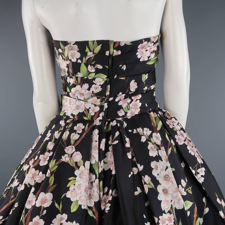 Dolce & Gabbana Dress -  Black Cherry Blossom Cocktail Dress Gown For Sale 4
