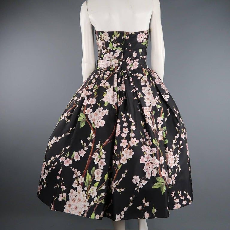 Dolce & Gabbana Dress -  Black Cherry Blossom Cocktail Dress Gown For Sale 3