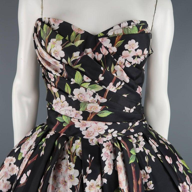 Women's Dolce & Gabbana Dress -  Black Cherry Blossom Cocktail Dress Gown For Sale