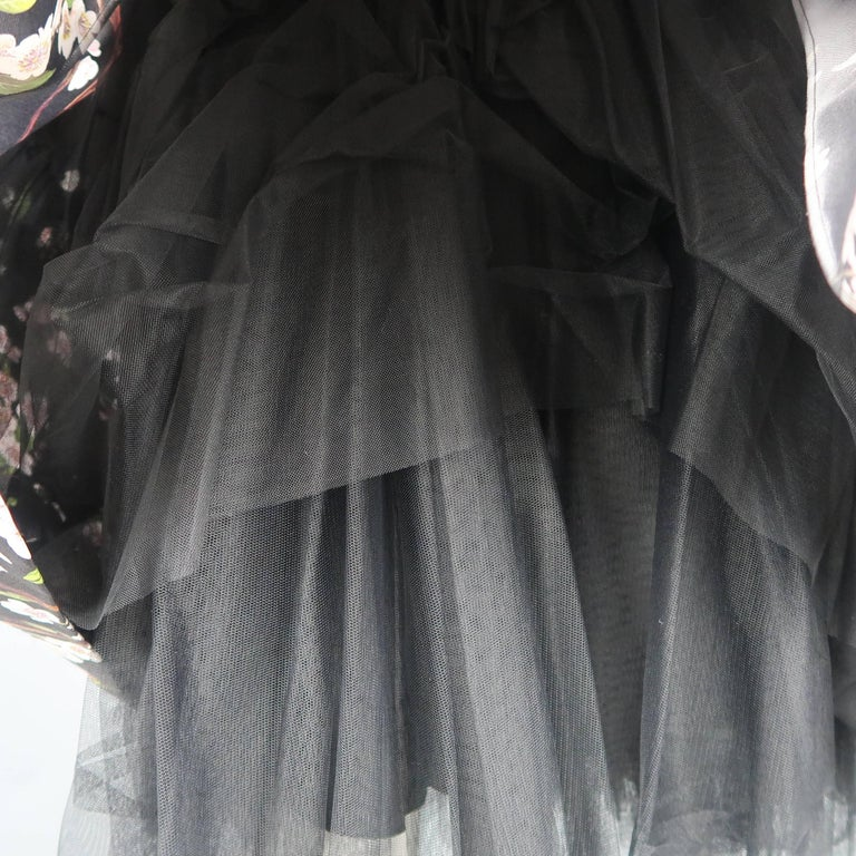 Dolce & Gabbana Dress -  Black Cherry Blossom Cocktail Dress Gown For Sale 5