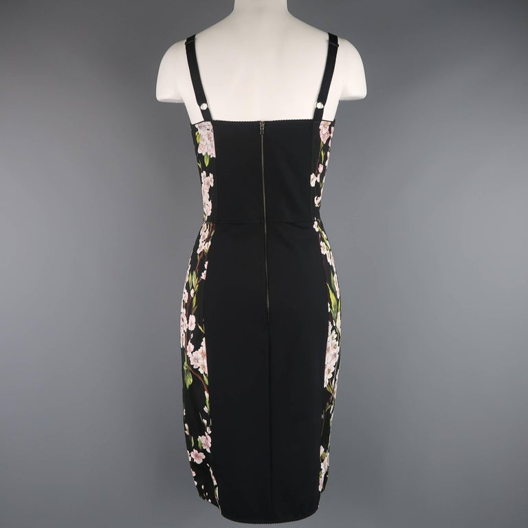 fa9c848f Dolce & Gabbana Black Cherry Blossom Print Cotton Bustier Sheath Dress For  Sale 2