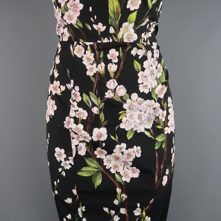 0ee1c1aa Dolce & Gabbana Black Cherry Blossom Print Cotton Bustier Sheath Dress For  Sale 1