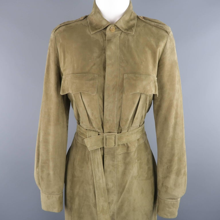 Ralph Lauren Collection Olive Green Suede Safari Dress