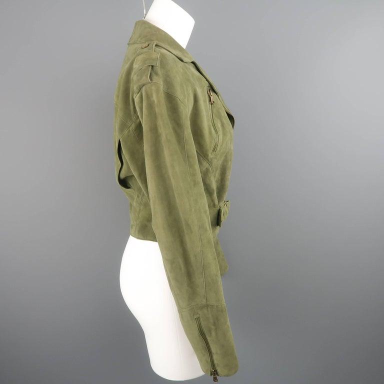 RALPH LAUREN Size 6 Olive Suede Cropped Lace Up Biker Jacket For Sale 1