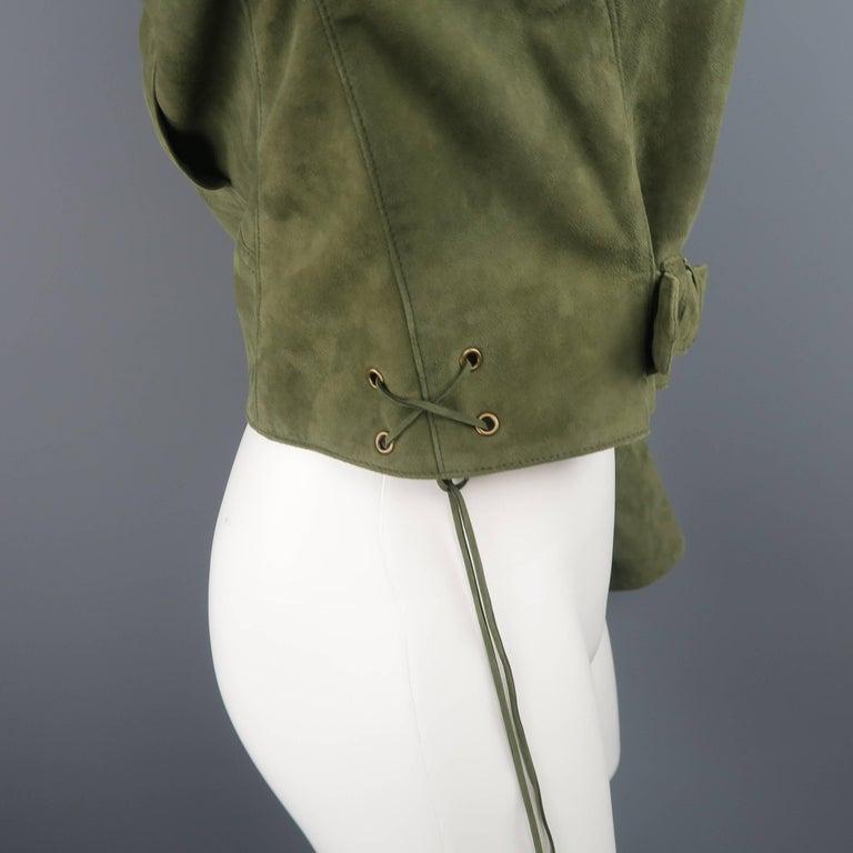 RALPH LAUREN Size 6 Olive Suede Cropped Lace Up Biker Jacket For Sale 2