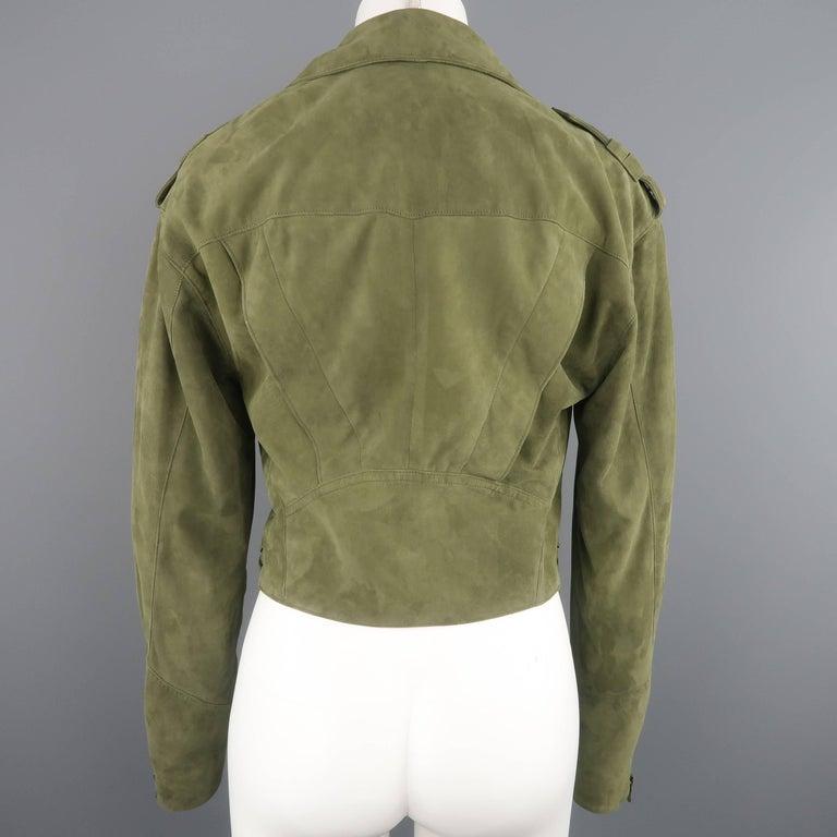 RALPH LAUREN Size 6 Olive Suede Cropped Lace Up Biker Jacket For Sale 3
