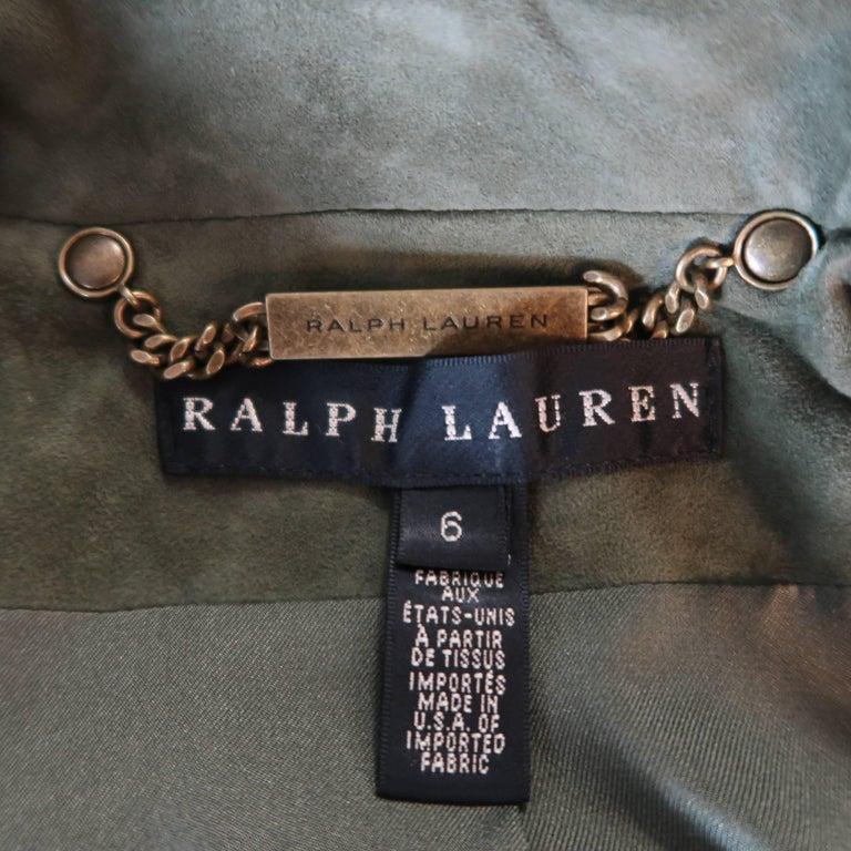 RALPH LAUREN Size 6 Olive Suede Cropped Lace Up Biker Jacket For Sale 4