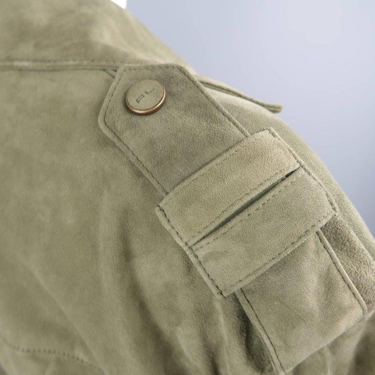 Women's RALPH LAUREN Size 6 Olive Suede Cropped Lace Up Biker Jacket For Sale