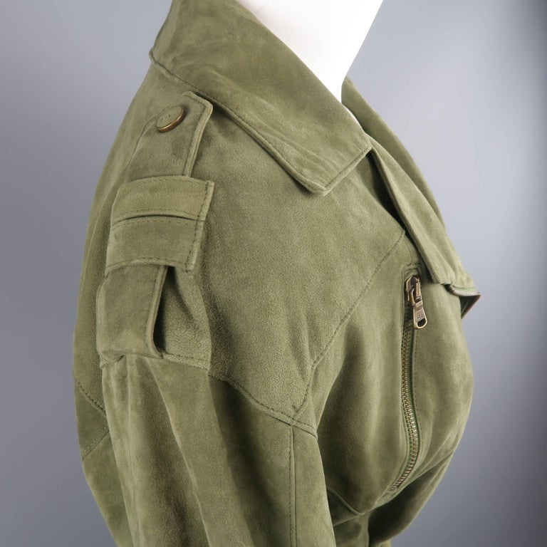 RALPH LAUREN Size 6 Olive Suede Cropped Lace Up Biker Jacket In Excellent Condition For Sale In San Francisco, CA