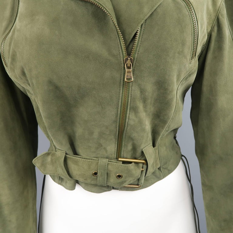 Brown RALPH LAUREN Size 6 Olive Suede Cropped Lace Up Biker Jacket For Sale
