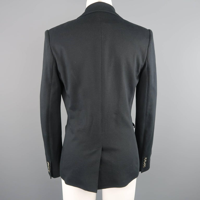 RALPH LAUREN Size 8 Black Cotton Jersey Silver Embroidered Pocket Blazer For Sale 2