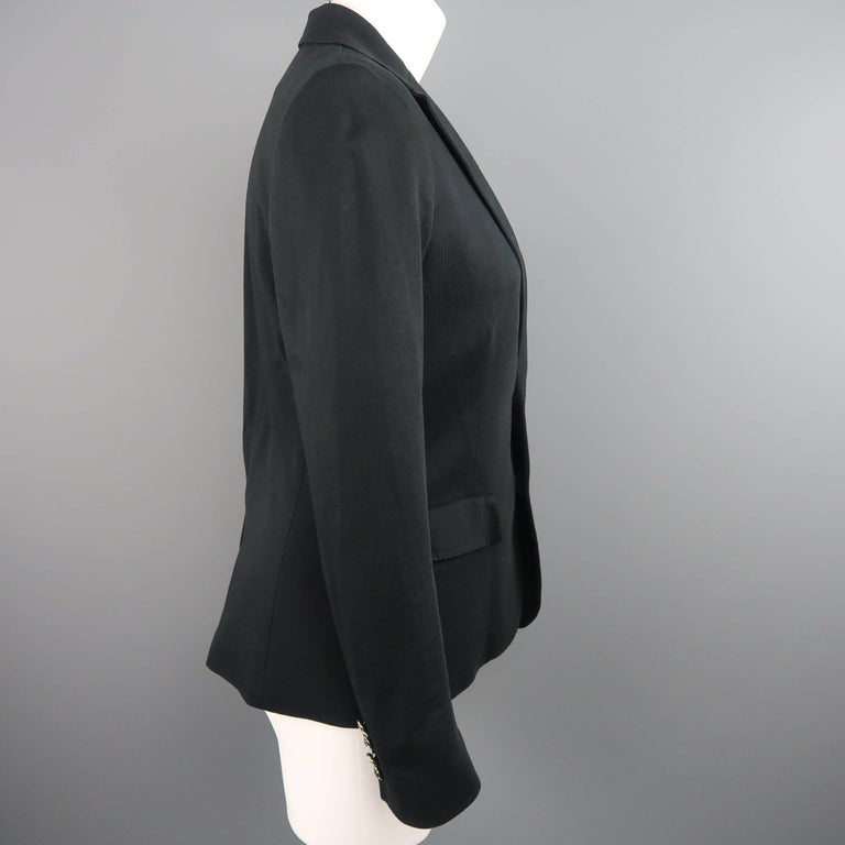 RALPH LAUREN Size 8 Black Cotton Jersey Silver Embroidered Pocket Blazer For Sale 1