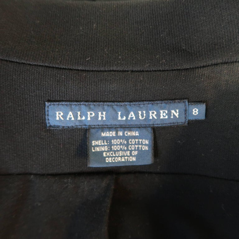 RALPH LAUREN Size 8 Black Cotton Jersey Silver Embroidered Pocket Blazer For Sale 4