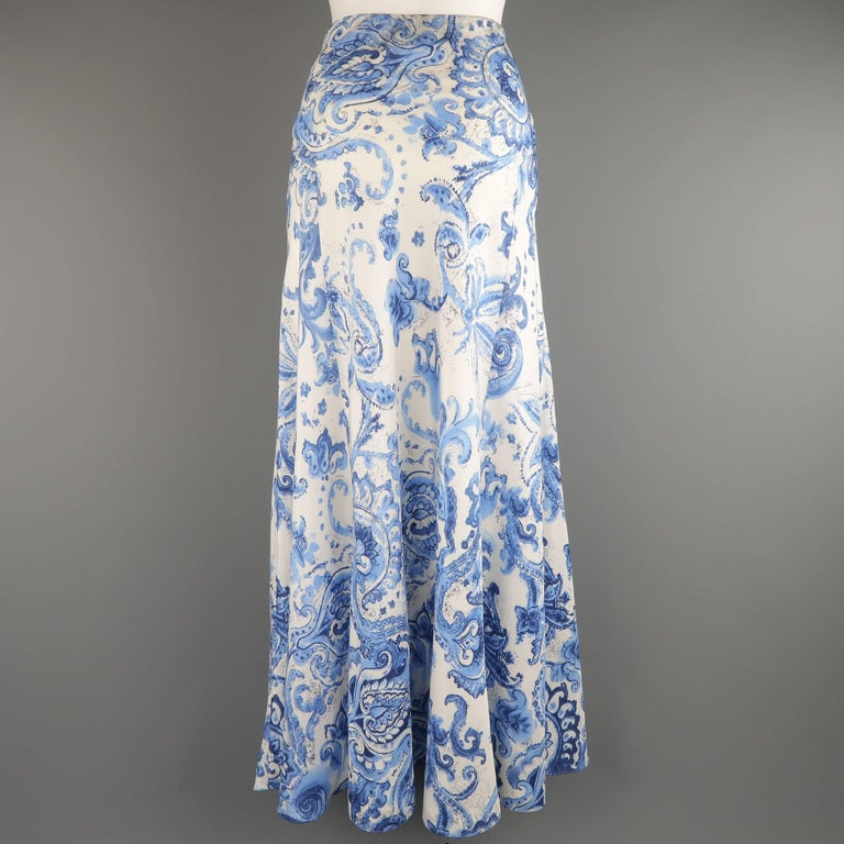 Ralph Lauren Size 6 White And Blue Floral Paisley Silk A
