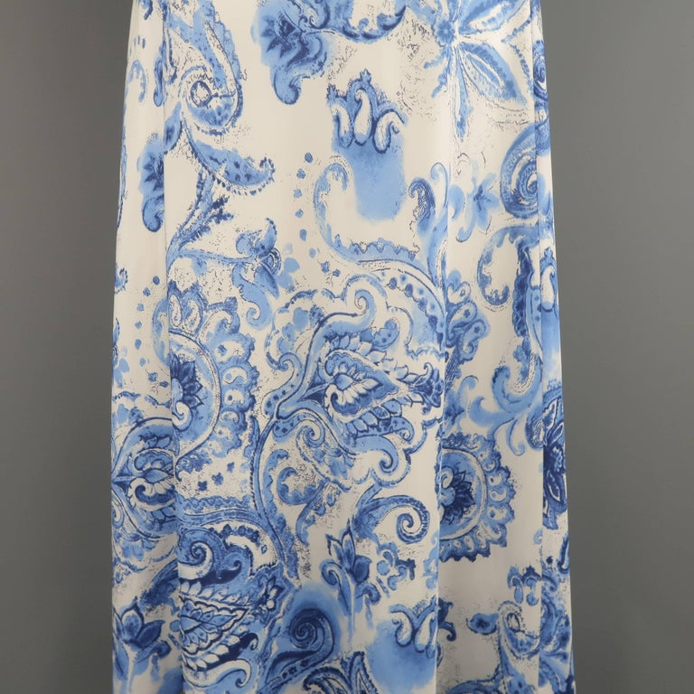 Black Flower 21st Century Op Art Set: RALPH LAUREN Size 6 White And Blue Floral Paisley Silk A