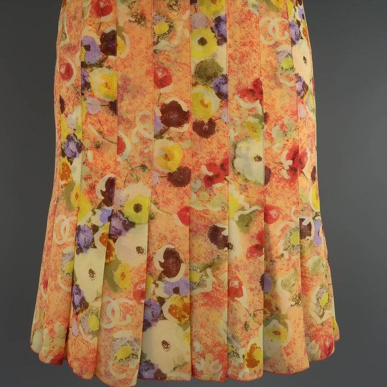Chanel Orange Floral Print Silk Chiffon Pleated Skirt, 2004  In Excellent Condition For Sale In San Francisco, CA