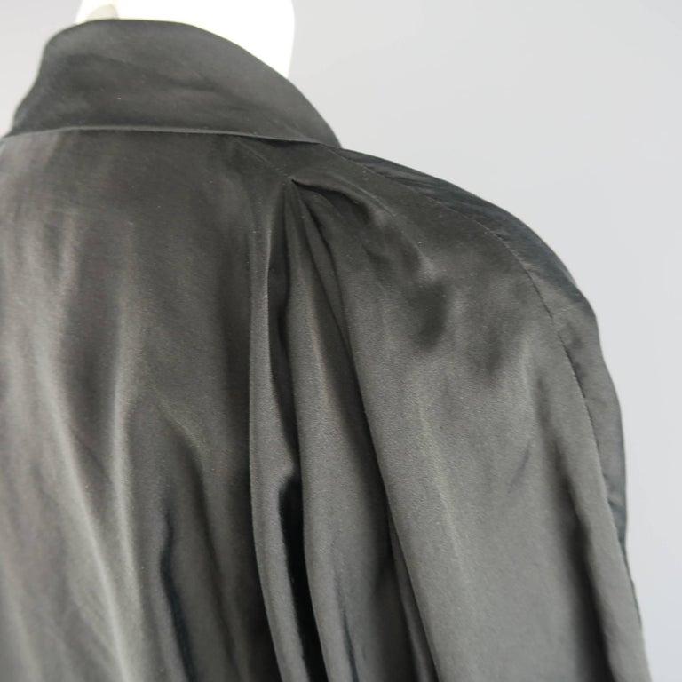 LANVIN Size 4 Black Silk / Cotton Draped Asymmetrical Wrap Blouse For Sale 2