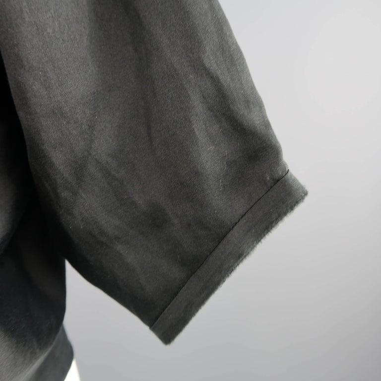 LANVIN Size 4 Black Silk / Cotton Draped Asymmetrical Wrap Blouse For Sale 4